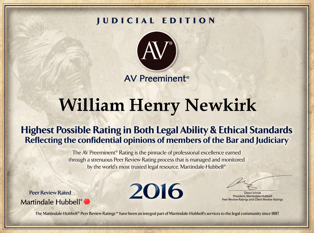 Martindale Hubbell Peer Review 2016 William H Newkirk