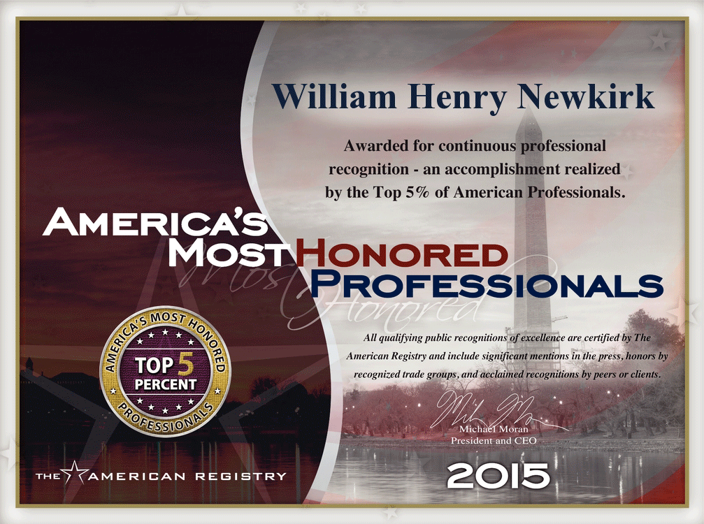 American Most Honored Professional February 2015 William H Newkirk
