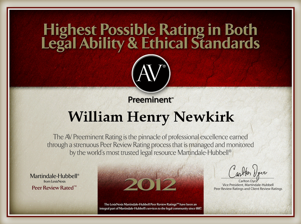 AV Preeminent Attorney January 2012 William H Newkirk