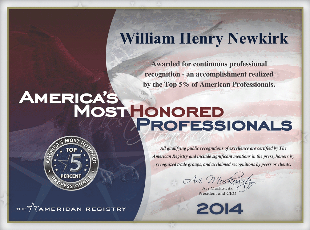Americas Most Honored Professionals Top-5 Percent 2011 William H Newkirk