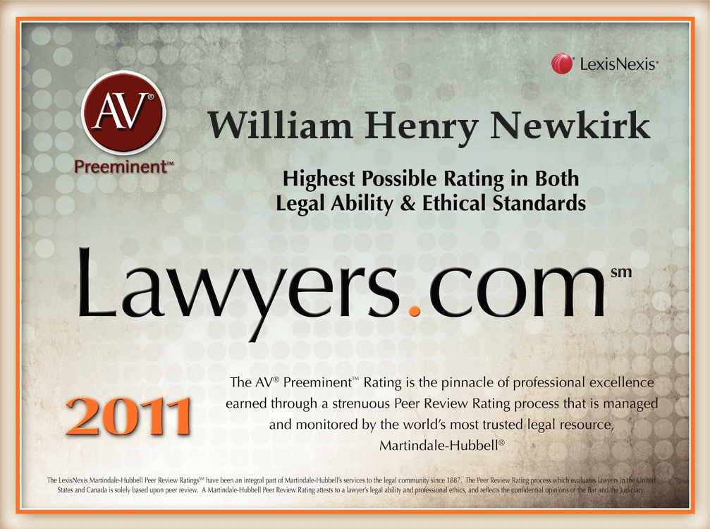 PRR AV Preeminent Lawyers 2011 William H Newkirk