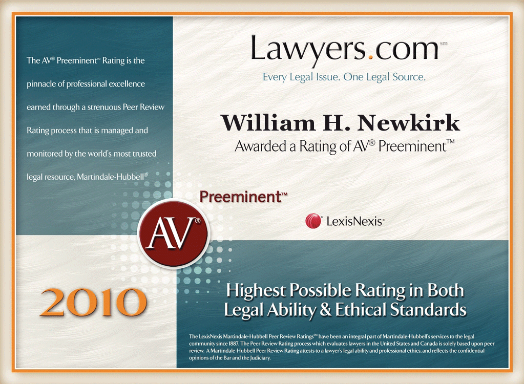 PRR AV Preeminent Lawyers January 2010 William H Newkirk